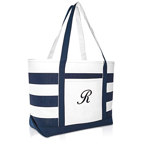 - DALIX Premium Beach Bags Striped Navy Blue Zippered Tote Bag Monogrammed R