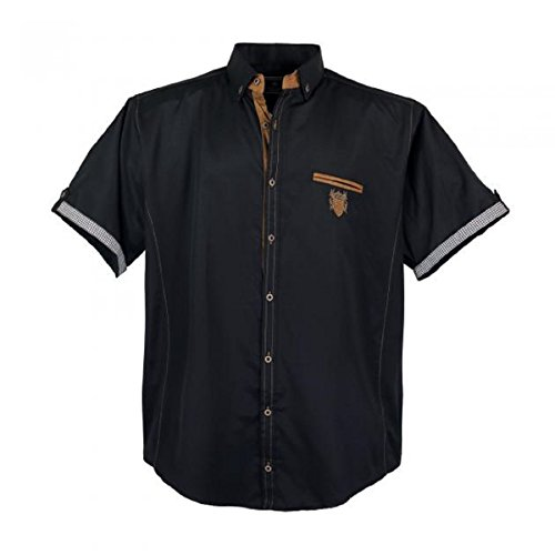 1128 Übergröße Lavecchia Herren kurzarm Hemd Dark-Black Gr. 3-7 XL