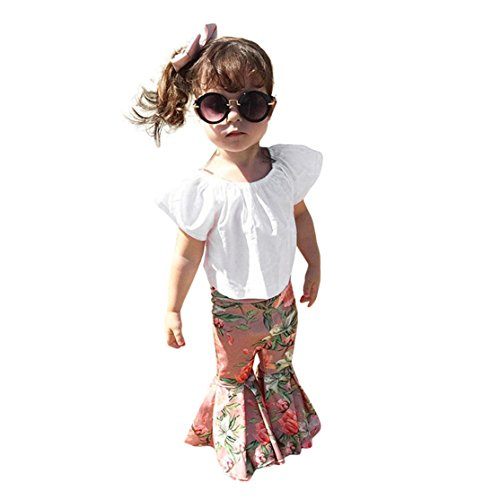 ZHANGVIP 2018 New 2Pcs Toddler Baby Kids Girls Solid Off Shoulder Tops+Floral Pants Set Outfits (3T, White)