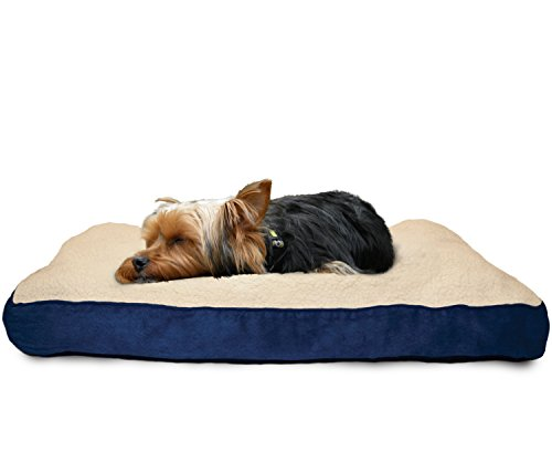 Furhaven Pet Dog Bed | Deluxe Sherpa & Suede Pillow Pet Bed