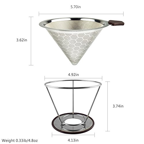 Stainless Steel Reusable Coffee Filter Pour Over Coffee Cone Dripper Permanent Honeycombed Mesh Basket 4 Cups Bonus Removable Cup Stand and Brush By Valerie by Valerie (Image #3)
