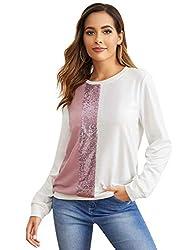 White & Piknk Round Neck Sequin Long Sleeve Sweatshirt