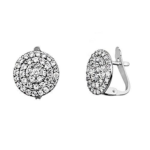 Boucled'oreille 18k or blanc cercle zircone cubique rosette [AA6389]