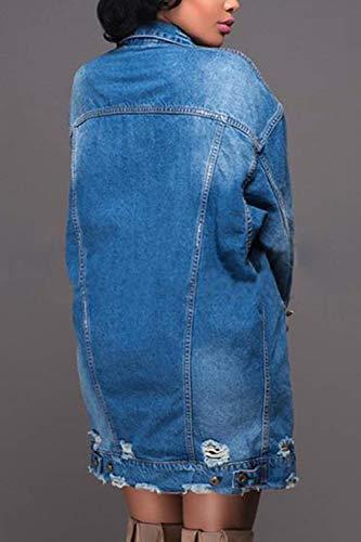 Cavo Tasche Blau Donna Alta Lunga Anteriori Giacche Vita Cappotto Outwear Manica Single Moda Breasted Autunno Women Casual Jeans Giovane Bavero Elegante Di YxOBq
