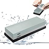 Whetstone 2-IN-1 Double Side 400/1000 Grit Knife Sharpening Stone Sharpener - Rubber Stone Holder Included