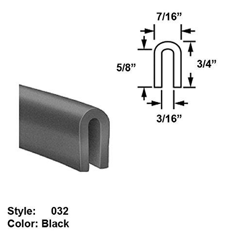 Neoprene Rubber U-Channel Push-On Trim, Style 032 - Ht. 3/4'' x Wd. 7/16'' - Black - 25 ft long by Gordon Glass Co.