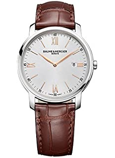 5c565452063 New Mens Baume   Mercier Classima Silver Brown 42mm Quartz Watch MOA10144  10144
