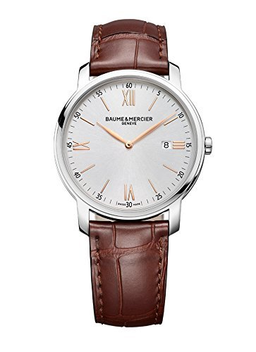 New-Mens-Baume-Mercier-Classima-Silver-Brown-42mm-Quartz-Watch-MOA10144-10144