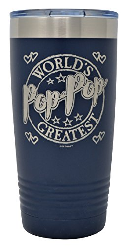 """(GIFT FOR POP-POP – """"World's Greatest Pop-Pop"""" Engraved GK Grand Stainless Steel Tumbler Vacuum Insulated Large Travel Coffee Mug Hot & Cold Drinks Christmas Birthday Fathers Day (Navy Blue,)"""