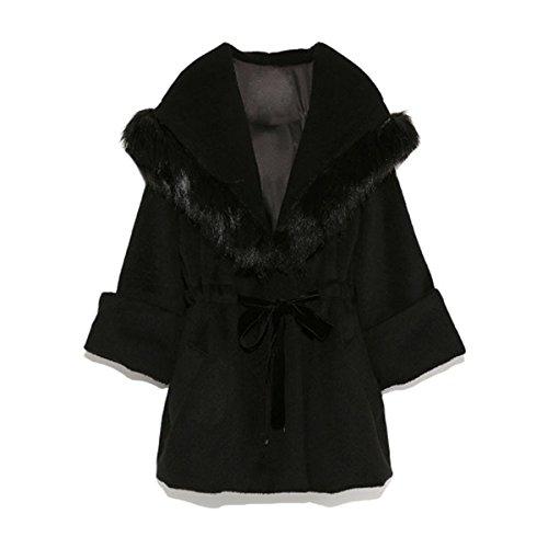 Cintura De Las Mujeres Abrigo De Invierno Con Capucha De Lana De Las Mujeres Largas De La Capa Black