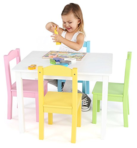 Tot Tutors Kids Wood Table and 4 Chairs Set, White/Pastel (Pastel Collection)