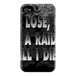 JoanneOickle Iphone 4/4s Shock-Absorbing Hard Phone Covers Unique Design Realistic Oakland Raiders Image [OUU19267FiRU]
