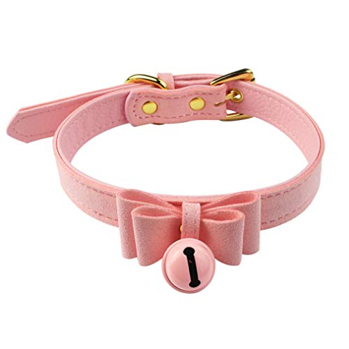 Nydotd Pink Bell Choker Adjustable Collar Necklace Lolita Bow Collar Velvet Cat Cosplay Kitty PU Leather Choker with Bell for Girl Women Pet Dog Cat Halloween Costume Accessories ()