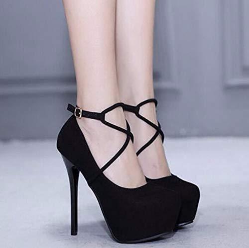 GTVERNH Damenschuhe High - Heel Heel Heel 14 cm Schlank Bei Runden Kopf Flachen Einzigen Schuh Wildleder Schnalle Hochhackigen Schuhen. 2fd911
