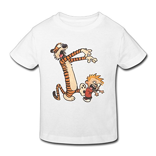 (Radyk56rtyh Toddler's 100% Cotton Calvin and Hobbes Style T-Shirt White US Size 2)