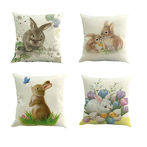 Easter Rabbit Throw Pillow Case Cushion Cover Spring Home Decoration Cotton Linen 18 x 18 Inch(Bunny)