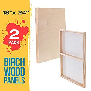 U.S. Art Supply 18″ x 24″ Birch Wood Paint Pouring Panel Boards, Gallery 1-1/2″ Deep Cradle (Pack of 2) – Artist Depth Wooden Wall Canvases – Painting Mixed-Media Craft, Acrylic, Oil, Encaustic