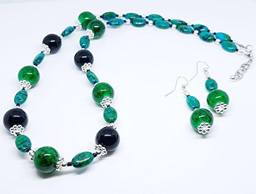 Australian Jasper Beads, Green Mix/Green Marbleized Glass Beads/Round Glass Beads/Large Dot Metal Beads/Silver Plated Metal Beaded Duo Set