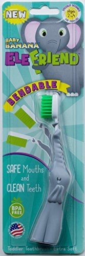 Baby Banana EleFriend Toddler Toothbrush, Gray/White