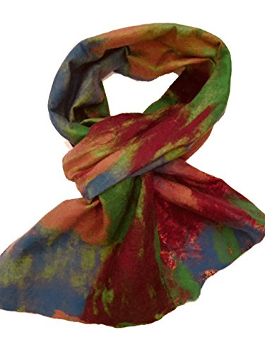 Teramasu One of a Kind Handmade Silk Merino Wool Multicolored Artist Scarf Style 5 by Teramasu