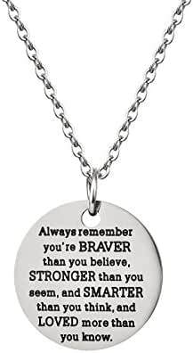 Inspirational Jewelry Necklace Gift for Women Girls - You Are Braver Stronger Smarter Than You Think
