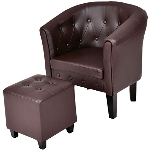 - Giantex Accent Armchair Club Seat PU Leather Barrel Tub Tufted Modern Living Room Chair with Cushion and Ottoman (Coffee)