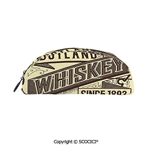 SCOCICI School Pencil Pens Cases Bags Holder Organizer Pouches Whiskey Label Design Old Fashion Scotland Alcohol Drink Taste Quality Decorative for School Supplies Organizer Pouch Bag 8x2x3 inch