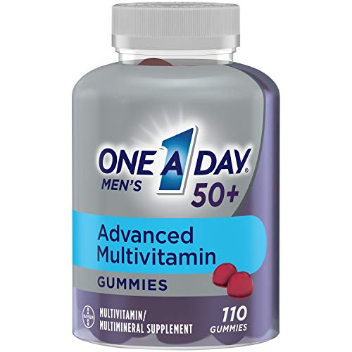 One A Day Men's 50+ Advanced Multivitamin Gummies | Contains 8 B-Vitamins to support healthy brain function | Strawberry, 110 Count