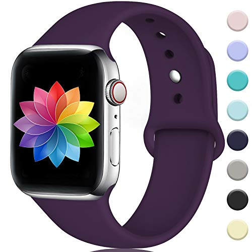 (Rabini Band Compatible with Apple Watch 40mm 38mm, Replacement Accessory Sport Band for iWatch Apple Watch Series 4, Series 3, Series 2, Series 1, Plum, S/M)