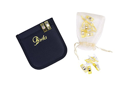 Black sewing kit with 20 yellow quilting craft clips-zippered case with pocket for storage-Travel-home-office (yellow)