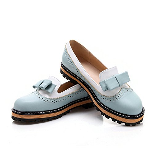 Color Lace Spring Pu Shoes Slip 8 Leather Toe 43Pink On Soft Women Mouth Size Blue Autumn Miss Shallow Flat Kenavinca Round 34 Shoes Mixed Pqdv6ww8C