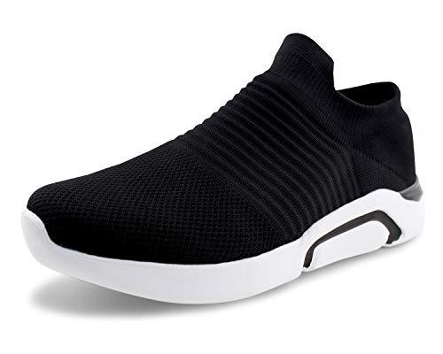 Lace Mesh Tie - Jabasic Mens Ultra-Sock Knit Running Sneaker Breathable Athletic Slip On Walking Shoes (13,Black)