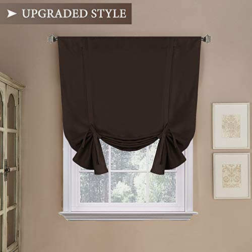 H.VERSAILTEX Blackout Energy Efficient Tie Up Shades -Rod Pocket Panel for Small Window, Chocolate Brown 42W x 63L (Set of ()