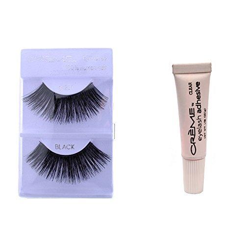 201 Creme - 6 Pairs Crème 100% Human Hair Natural False Eyelash Extensions Black #201 Dark Full Long Lashes