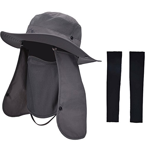 Cap Sleeve Cover - Zoylink Fishing Hat with 1 Pairs Sun Protection Sleeves Summer Outdoor Sun Protection Wide Brim Removable Mesh Neck Face Flap Fishing Cap for Men