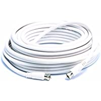 Camco Heavy Duty 18 AWG 75 OHM Digital Coaxial Cable with Male Connector Ends - 50 ft White (64761)