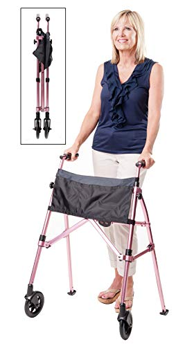 Stander EZ Fold-N-Go Walker, Lightweight Folding & Narrow Adult Travel Walker with Wheels for Seniors, Regal Rose