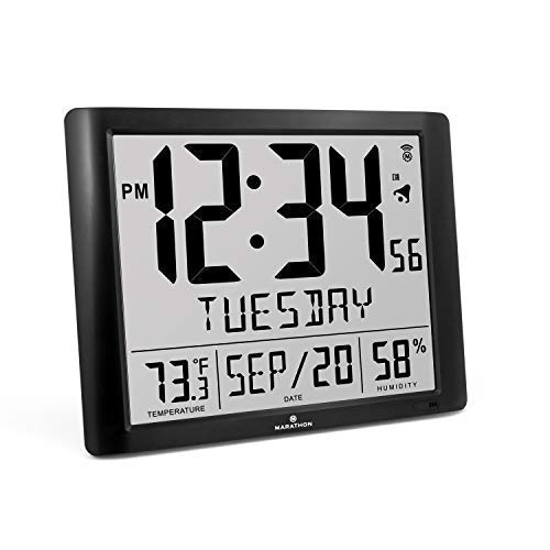 - Marathon CL030061-FD-BK Super Jumbo Atomic Full Calendar Wall Clock with 7 Time Zones, Indoor Temperature and Humidity. Large 20 Inch Display with 6.5 Inch Numbers. Batteries Included (Black)