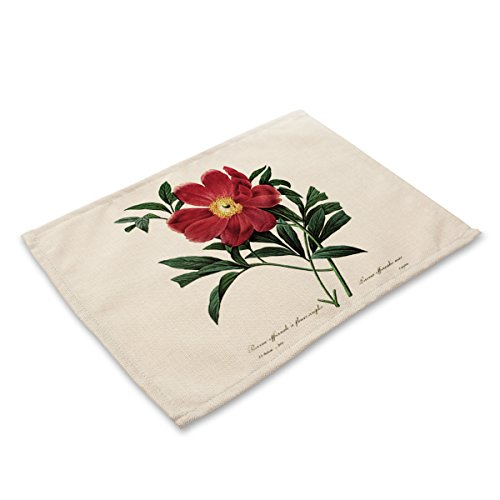 Placemats for Kitchen Table, Set of 6, Heat Insulation Non-Slip Cotton and Linen Placemats for Kitchen and Dining Room Simple Plant Flower and Bird Series MA0047-1
