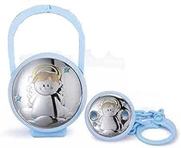 Juego caja para chupete y broche Bimbo Cod.ae0441 C con placa de plata: Amazon.es: Bebé