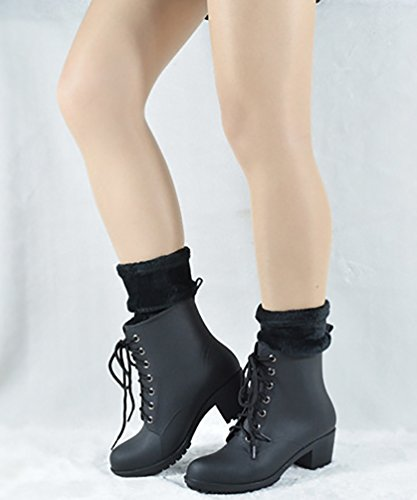 LvRao Women's High Heel Lace-Up Snow Rain Shoes Waterproof Booties High Ankle Short Boots Wellies Black with Socks rs25sFdXR