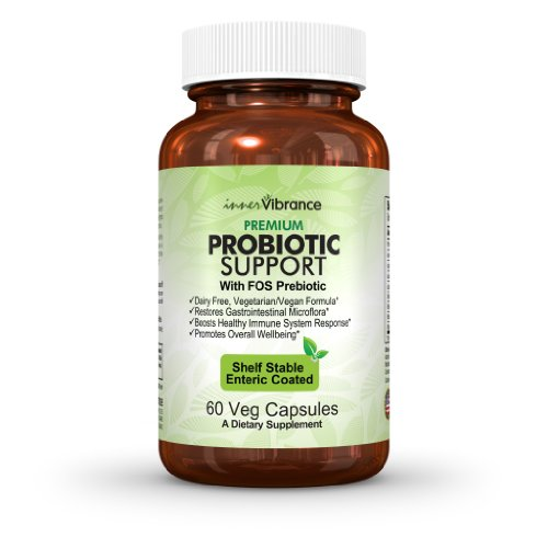 Dairy Free Probiotics - Best Vegan Supplement With Enteric Coating - Superior Bifidobacterium Formula - Retains Potency Without Refrigeration - 8 Strains - 60 Veg Capsules - SATISFACTION GUARANTEED