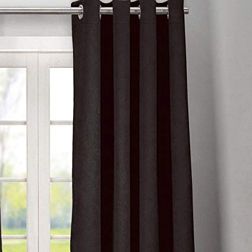 - Duck River Textiles - Quincy Solid Faux Silk Textured Blackout Room Darkening Grommet Top Window Curtains Pair Panel Drapes for Bedroom, Living Room - 54 X 96 Inch - Black