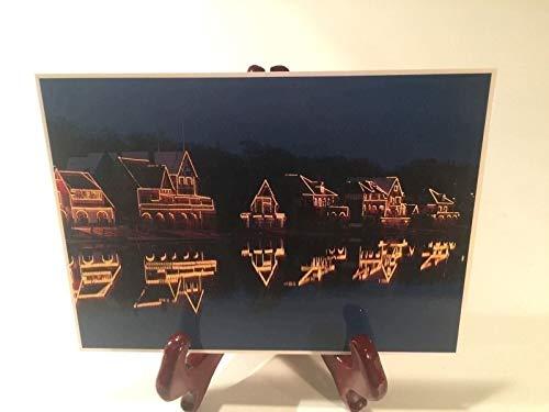Philadelphia Boathouse Row - Philadelphia Boathouse Row Postcard Rowing Nightlights 1984 Vintage Print Japan