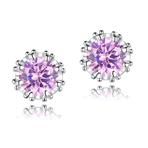 OPALTOP Pink CZ Stud Earrings for Little Girls Princess Crown White Gold Plated Hypoallergenic ()