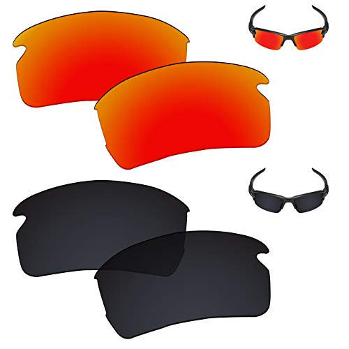 - Galvanic Replacement Lenses for Oakley Flak 2.0 Asian Fit Sunglasses - Ruby + Black Polarized - Combo Pack