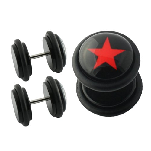 black-acrylic-fake-cheater-plug-clear-epoxy-dome-logo-print-inlay-red-star