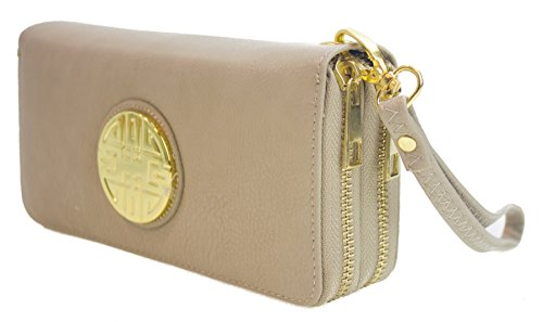 Canal Collection Double Zipper Around PVC Leather Wristlet Clutch Organizer Wallet with Emblem (Beige)