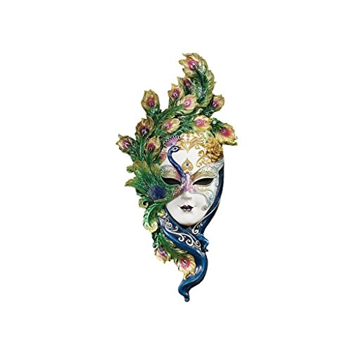 Design Toscano Peacock Feather Masks of Venice Wall Sculpture, 13 Inch, Polyresin, Full Color ()