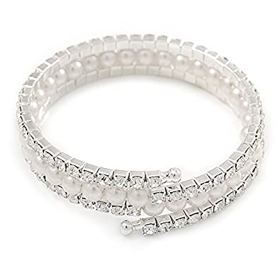 Avalaya Bridal/Prom White Simulated Pearl, Clear Crystal Wrap Flex Bracelet In Silver Tone - Adjustable